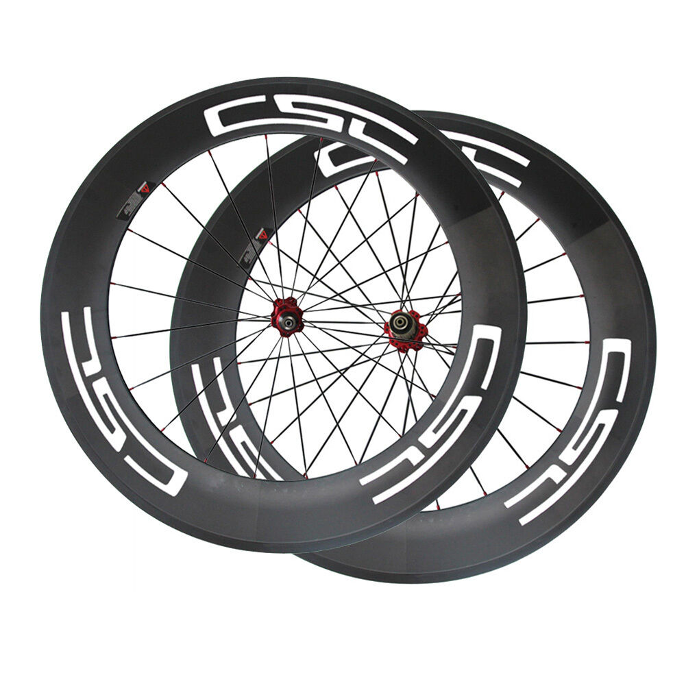 CSC Bicycle wheels 88mm Tubular carbon bike wheelset 3K UD carbon finish