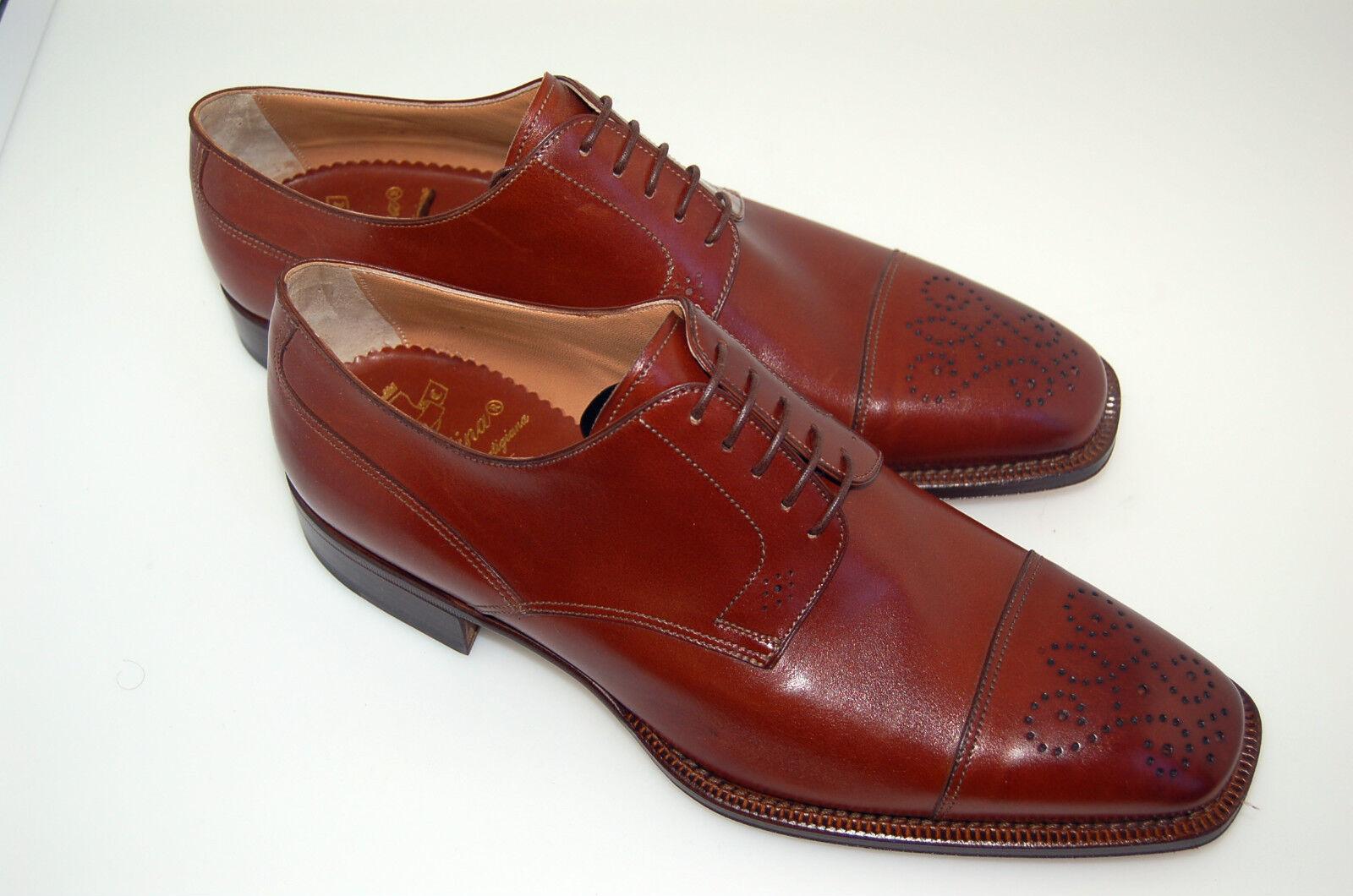 MAN -42- 8 eu-DERBY WINGTIP MEDALLION-CALF TAN-DOUBLE LTH SOLE-FONDO CUOIO Scarpe classiche da uomo