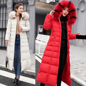 femmes coton avec en long Parka Manteau col en Down fourrure Down en pour matelassé Manteau Nouveau fourrure EXBwqwC