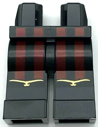 Lego New Minfigure Black Hips and Legs with 4 Dark Red Vertical Stripes Pants