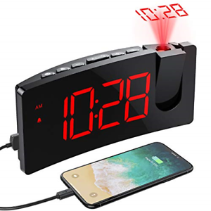 PICTEK Projection Alarm Clock, 4 Dimmer, Digital Clock with USB Phone Charger