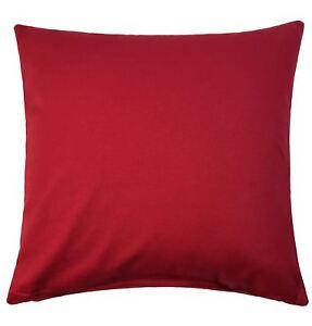 QUARR-Rojo-Liso-Algodon-ESE-Aspecto-y-sienta-Grueso-Funda-De-Cojin-Suave-45-7cm