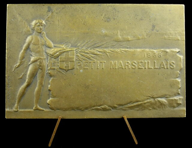 Médaille Le Petit Marseillais 1868 vue baie et port de Marseille Gustave Martin