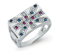 Solid Sterling Silver Platinum Plated Union Jack Ring Sizes T - Y