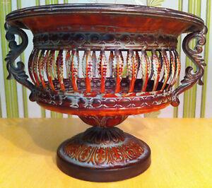 Magnifique-coquille-style-art-nouveau-en-metal-marron-fruits-CACHE-POT