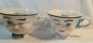 2 Baileys Irish Cream YUM Cups Winking Eye Face Mr & Mrs Coffee Mugs Tea Cups