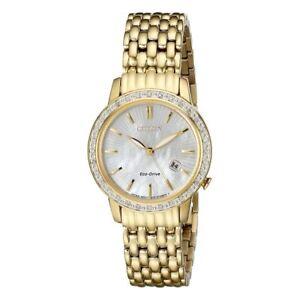 Citizen-EW2282-52D-Women-039-s-Eco-Drive-Gold-Tone-Mother-of-Pearl-Diamond-Watch