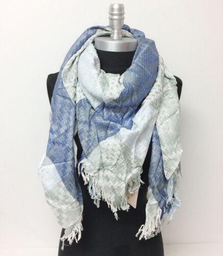 NEW effect diamond yarn Square Scarf w// solid stripe Wrap shawl Reversible Soft