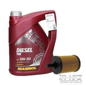 5 Liter Mannol Motoröl Diesel TDI SAE 5W-30 + Ölfilter Audi Seat Skoda VW