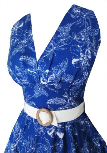 14 1950s 10 12 Style Vintage Dress Halterneck 16 Swing Blue Retro Hawaiian 8 wwW6zrPnq