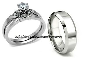 $$$ 5 Day Sale $$$ Stainless Steel 3 Pc His Hers Cz Bridal Wedding Band Ring Set