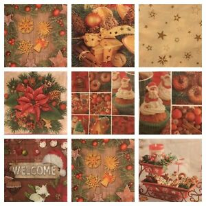 Details about 4 x paper napkins for decoupage crafts party table 3 ply  christmas themes