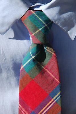 Viyella / Kenneth Gordon Magenta, Green, Blue White Madras Check Cotton Tie- USA