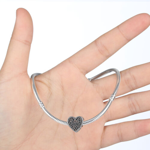 Forever Love Heart Solid 925 Sterling Silver CZ CharmsPendant Fit Bracelet Chain