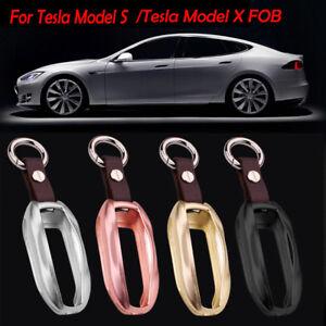 Luxury Aluminum Alloy Car Key Fob Pocket Case Cover Holder For Tesla