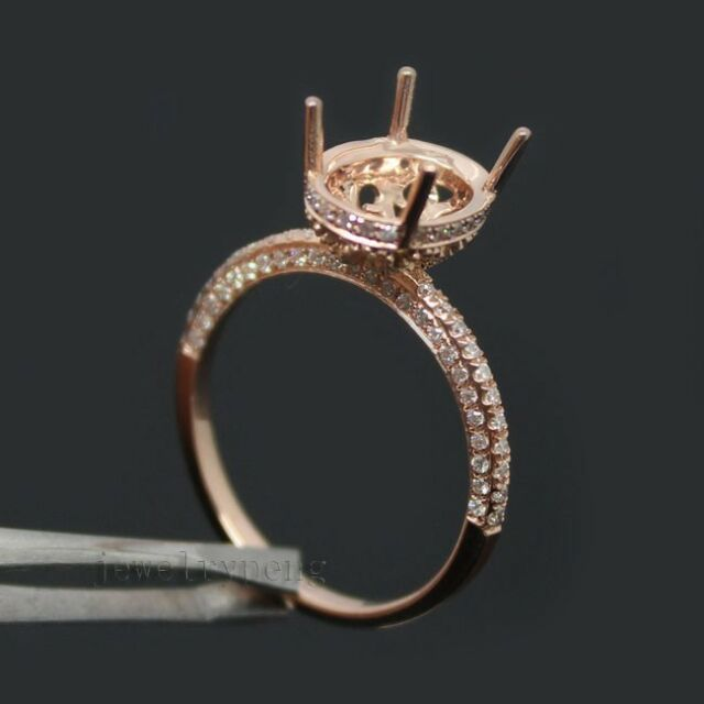 Oval 8x10mm Solid 14Kt Rose Gold 0.60Ct Diamond Engagement Semi Mount Ring