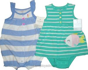 433bb9fea Lot Romper Creeper One Piece Carters Girls Summer Baby Clothes 2 ...