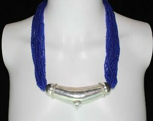 "Vintage Handmade Blue BOHO Multi-Strand Seed Bead Drape Necklace W/ Pendant 24"""