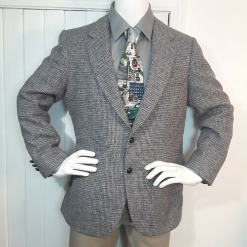Vtg HARRIS TWEED Gray Dogtooth WOOL TWEED Mens Bla