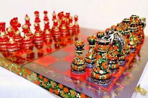 Echecs-superbe-jeu-d-039-echecs-en-bois-planche-a-main-et-pieces-cadeau-peinture