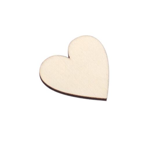 50pcs Wooden Love Heart Embellishments for Wedding Scrapbooking Decor Craft