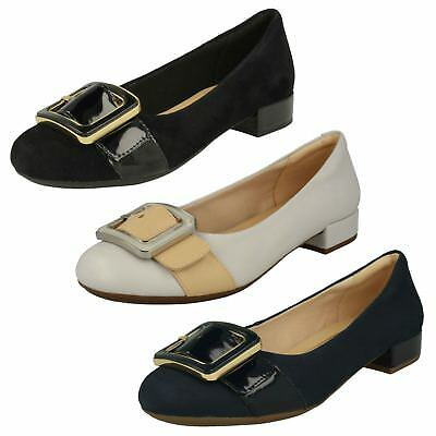 f46b0531202 Ladies Clarks Slip on Low Heeled Shoes Rosabella Faye Navy Combi (blue) UK  4.5 D