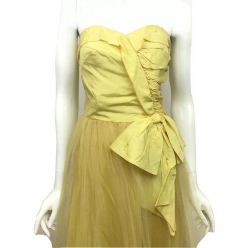 Vintage Strapless Yellow Dress 1950's Women's Smal