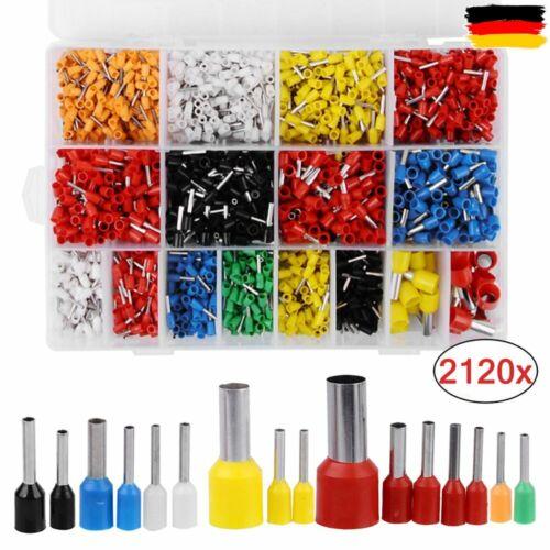 2120x Aderendhülsen Sortiment Set isoliert Kabelschuhe Endhülse 0,5mm²-16mm²