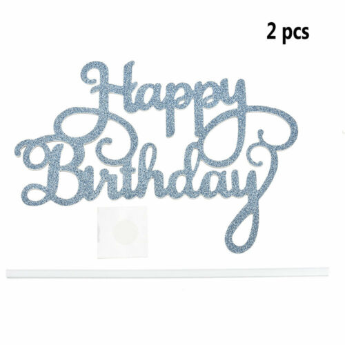 2pcs Fashion Gold Silver Cake Topper Happy Birthday Party Supplies Decorations