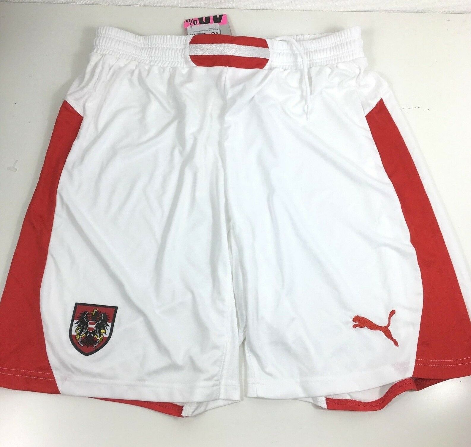 Puma Austria Home Mens Football Shorts Size Large White Red R543-3
