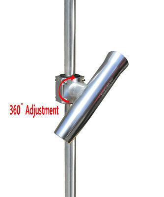 """Boat T-TOP Rod Holder Brocraft Aluminum Clamp On Rod Holder Fit 1/"""" to 2/"""" Pipe"""