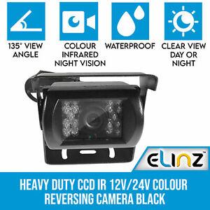 Heavy Duty CCD IR 12V/24V Colour Reversing Camera Reverse Rearview Car Elinz