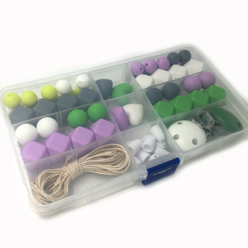 Silicone Teething Beads Kit DIY Baby Chewable Teether Wood Pacifier Chain Making
