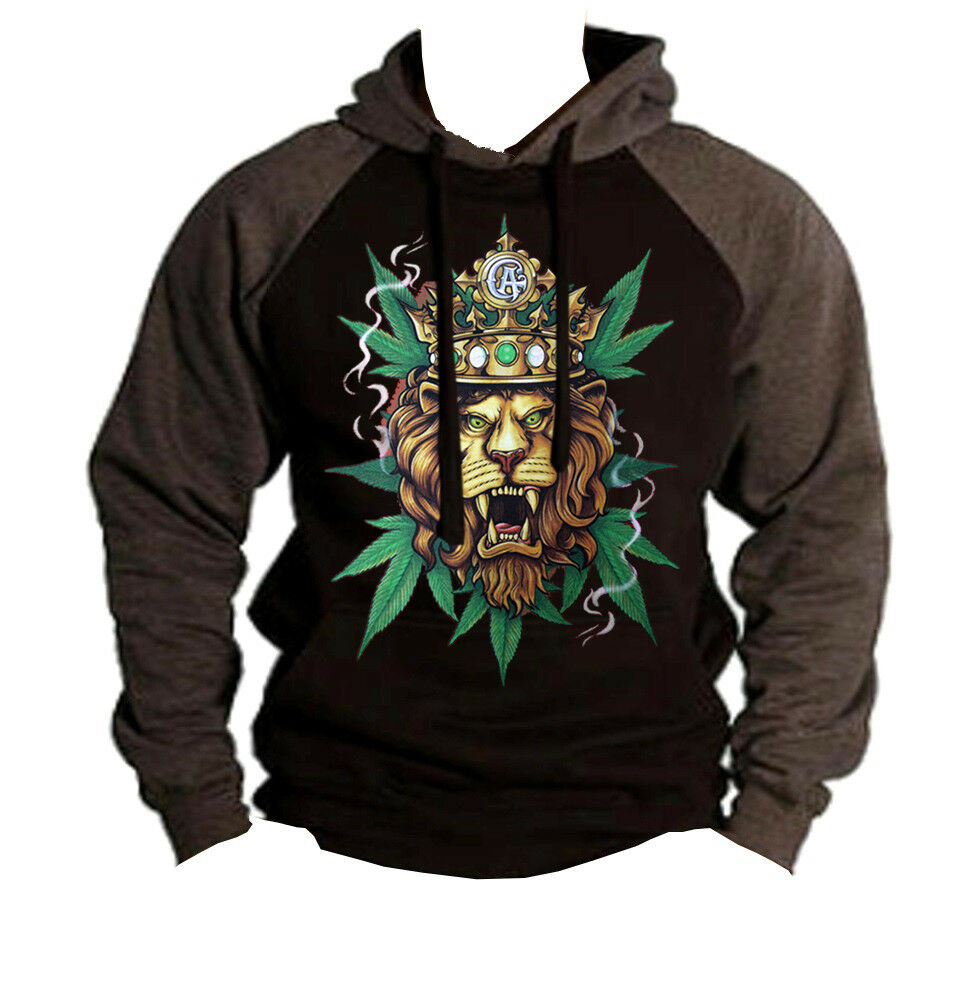Men's King Of Weed Lion Charcoal Raglan Hoodie Reggae Rasta bluent Kush Marijuana