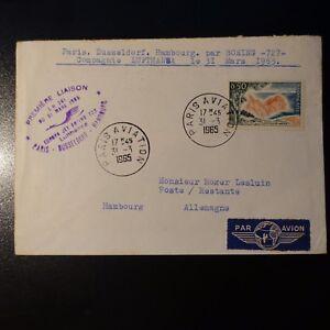 AVIAZIONE-LETTERA-COVER-PRIMO-VOLO-PARIS-DUSSELDORF-HAMBOURG-GERMANIA-1965