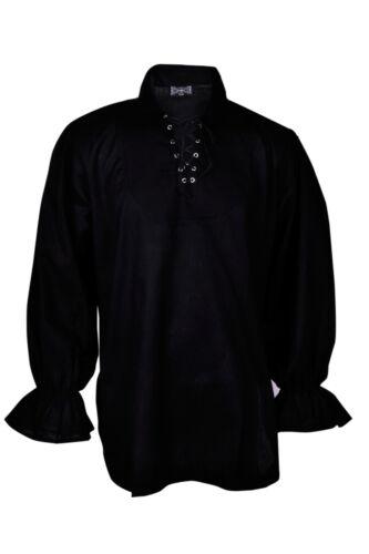 Gothic Renaissance Pirate Black Casual Shirt Captain Caribbean Hippie Men
