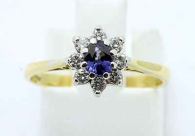18ct yellow & white gold sapphire & diamond 'daisy' cluster ring size J