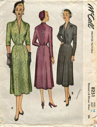 1950 Vintage McCall's Misses' Dress Sewing Pattern 8251 Size 16 UNCUT