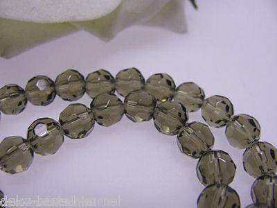 32 Glasperlen - grau am Strang, facettiert 10 mm, Perlen und Schmuck basteln