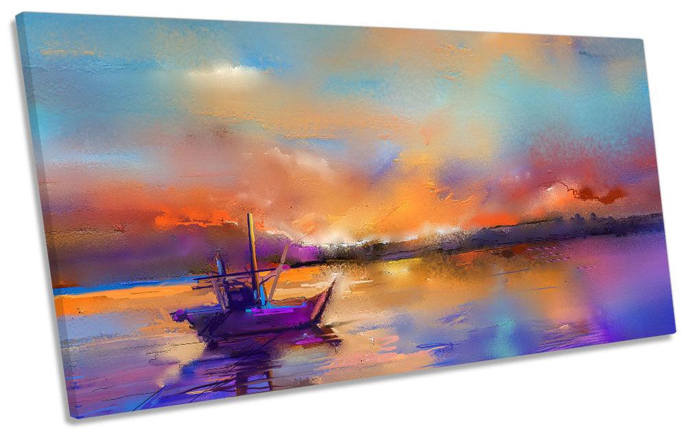 BARCA da pesca tramonto FLORA panoramico a a a muro opera d'arte art print 8a18c2
