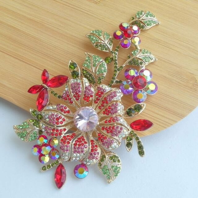Beautiful Orchid Flower Brooch Pin with Red & Pink Rhinestone Crystal EE04712C6a