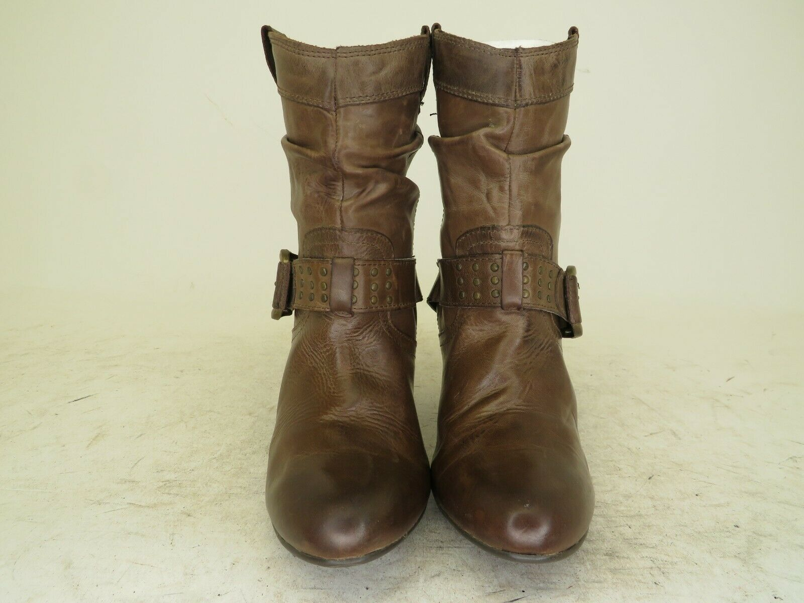 ALDO Brown Leather Slouch Buckle Studded High Ankle Fashion Boots Size 6 M