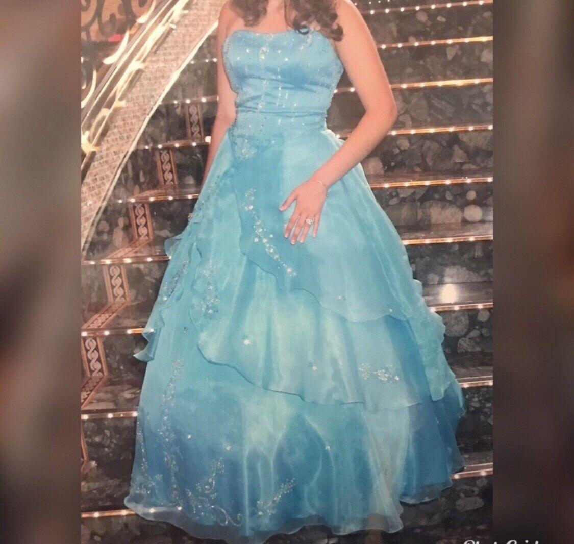 blue ball gown dress - image 6