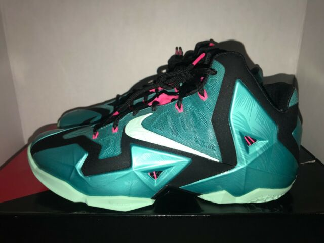 sports shoes 144ee 2c696 Mens Sz 13 Nike Lebron XI South Beach Turquoise MINT Black Basketball Shoes