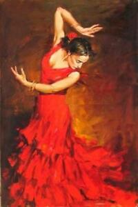 73bf2ba7fa21 CHOP816 100% hand painted red dress dancing lady oil painting wall ...