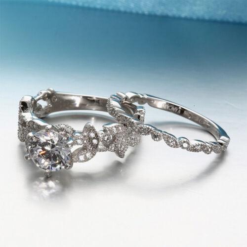 1Set Argent Zircone Cubique De Mariage Bande Bague de fiançailles nuptiale Sets Jewelry
