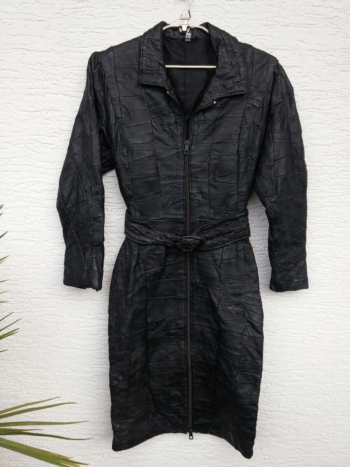 Sexy Lederkleid echt Leder Kleid Patchwork - NGr.34
