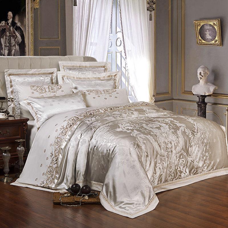 Elegant Satin Bettding Set Bett Pillowcase Duvet Sheet Startseite Home Embroidery Style