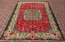 Floral Vintage Rug Turkish Oushak Anatolian Hand Knotted Red Green Large Carpet