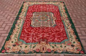 1.5x2.4m Vintage Floral Tapis Turc Oushak Anatolie Maison Main Noué Tapis Suppression De L'Obstruction
